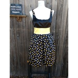 Black yellow polka dotted dress  size11